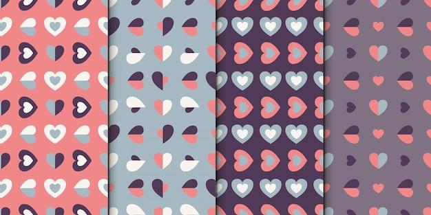 Conjunto padrão sem emenda de 4 projetos com corações. coleção padrão com pequenos corações.