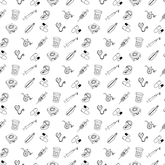 Conjunto padrão sem emenda de diferentes ícones médicos de tratamento de feridas e tratamentos para gráficos de informação médica. mão desenhada cartoon desenho ilustração em vetor, ícone de estilo de desenho.