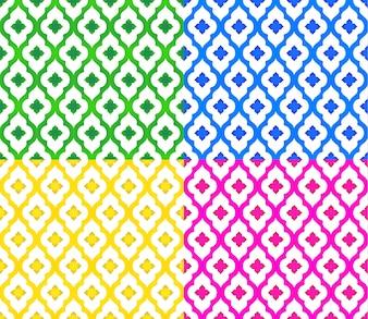 Conjunto padrão tailandês de fundo colorido de forma moderna