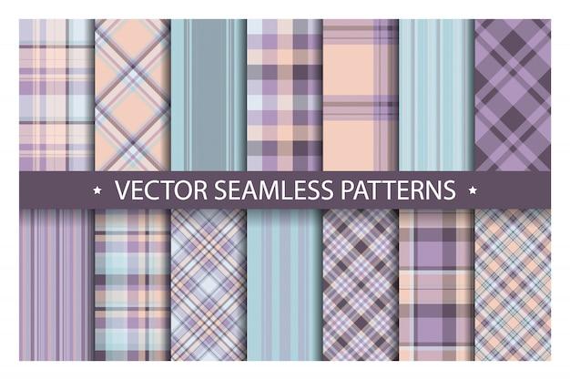 Conjunto padrão xadrez sem costura, padrões de tartan tecido textura de fundo, cobertor de listra escocesa