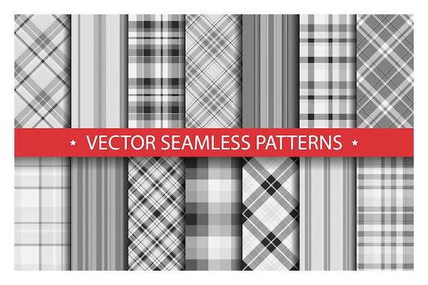 Conjunto padrão xadrez sem emenda. textura de tecido de padrões de tartan. fundo geométrico quadriculado. pano de fundo listrado escocês