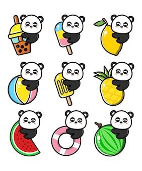 Conjunto panda fofo com conceito de verão