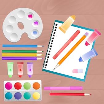 Conjunto para a criatividade infantil: aquarela, marcadores, tintas e lápis de cor.