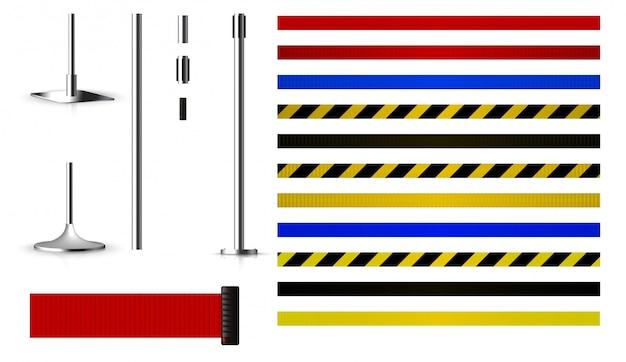 Conjunto para criar barreiras de metal com correias