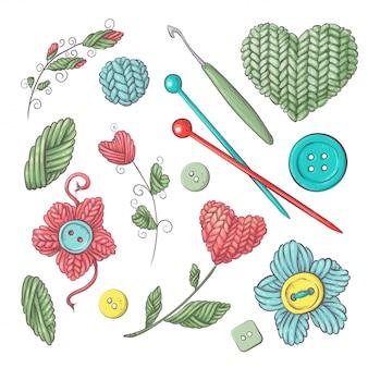 Conjunto para handmade para crochê e tricô.