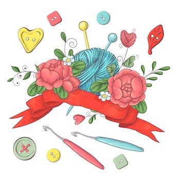 Conjunto para logotipo artesanal para crochê e tricô.