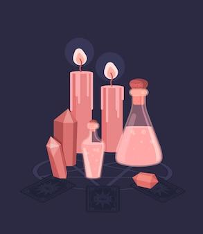 Conjunto para ritual mágico de bruxas. feitiçaria