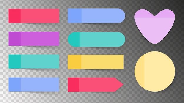 Conjunto pegajoso de cores. papel para notas e paus de memorando
