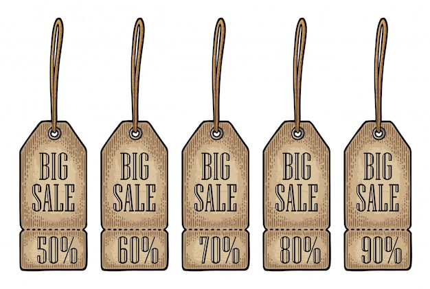 Conjunto pendurado marca de venda. preço com desconto, com texto de 50 a 90 por cento.