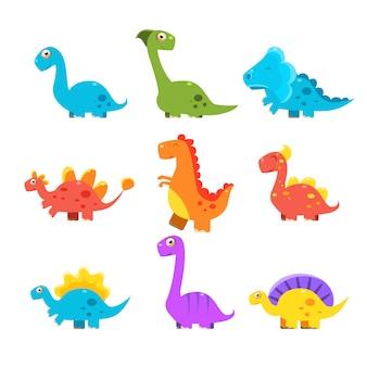 Conjunto pequeno dinossauro colorido. coleção cute