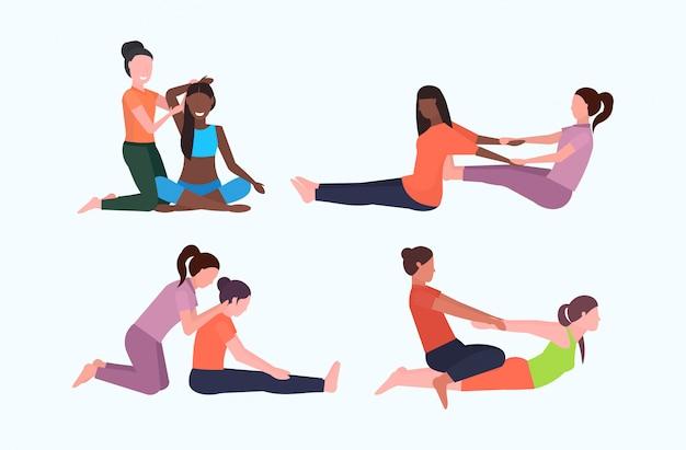 Conjunto pessoal instrutor fazendo exercícios de alongamento com instrutor de fitness menina ajudando a esticar os músculos diferentes poses treino conceitos comprimento total plano horizontal