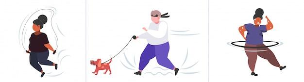 Conjunto pessoas obesas gordas em poses diferentes mistura excesso de peso raça personagens femininos masculinos coleção obesidade estilo de vida saudável conceito de perda de peso