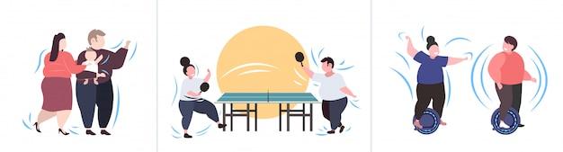 Conjunto pessoas obesas gordas em poses diferentes mistura excesso de peso raça personagens masculinos femininos coleção obesidade conceito de perda de peso