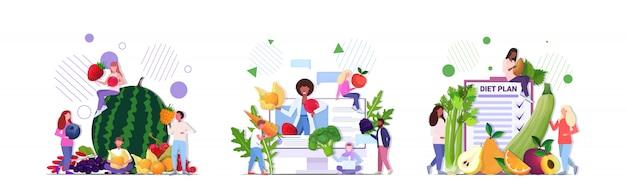 Conjunto pessoas segurando diferentes frutas legumes bagas nutrição saudável vegan comida crua vegetariana conceitos coleção comprimento total horizontal
