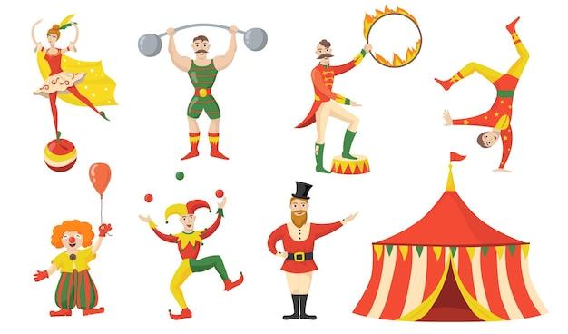 Conjunto plano alegre de personagens e performers de circo