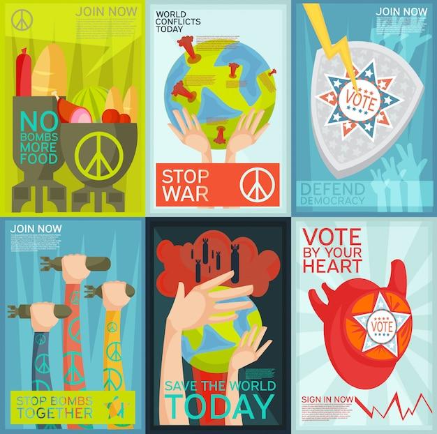 Conjunto plano colorido de cartazes de propaganda social e política