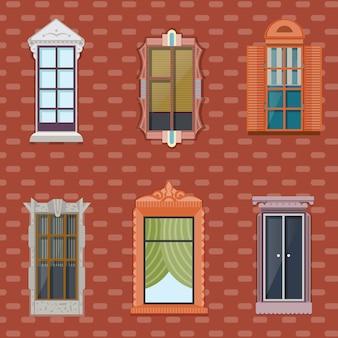 Conjunto plano colorido de janelas detalhadas
