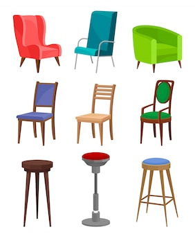 Conjunto plano de aconchegantes poltronas, cadeiras de jantar e bancos de bar. mobília moderna. objetos interiores