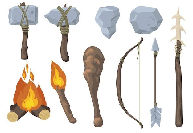 Conjunto plano de arma de rocha primitiva de neandertal
