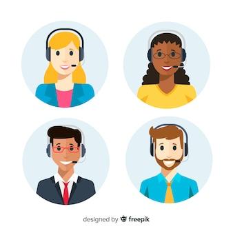 Conjunto plano de avatares de call center