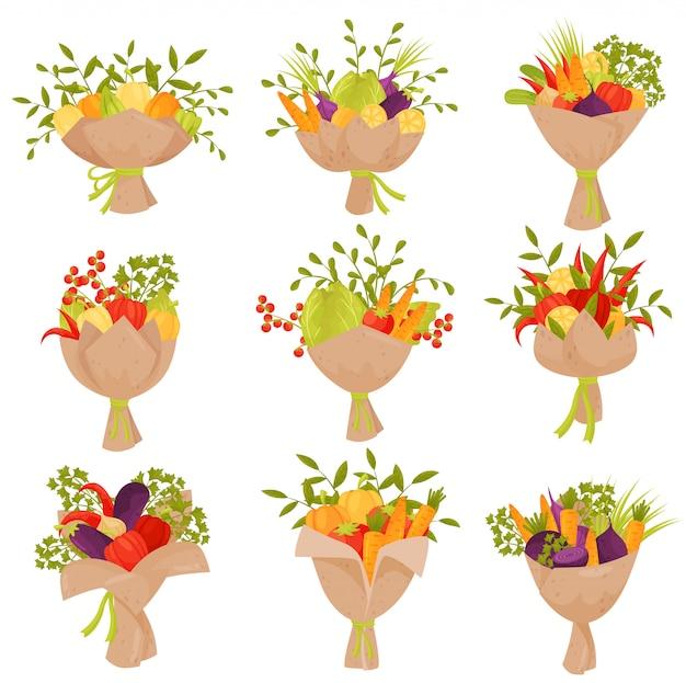Conjunto plano de buquês de legumes frescos. produtos orgânicos. alimento natural e saudável.