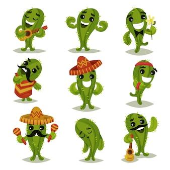 Conjunto plano de cactos verdes engraçados em diferentes ações. personagens de desenhos animados de plantas suculentas humanizadas