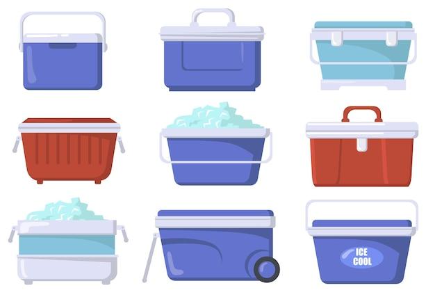 Conjunto plano de caixas geladeiras de mão