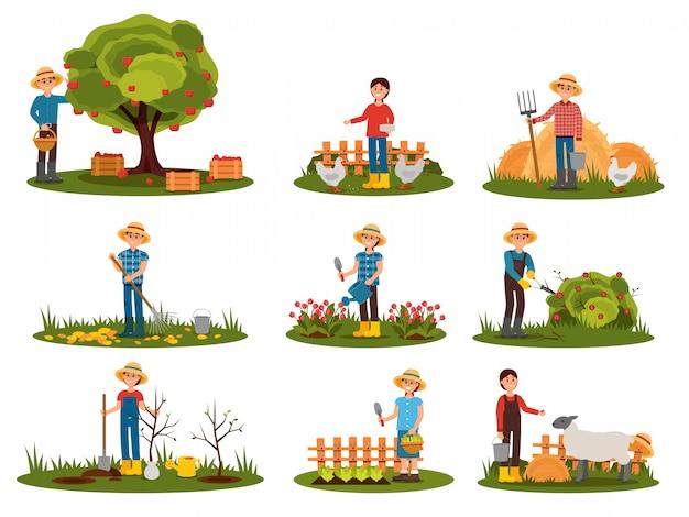Conjunto plano de caracteres de agricultor trabalhando ao ar livre. pessoas envolvidas em jardinagem. homem colhendo maçãs. mulher alimentando animais de fazenda