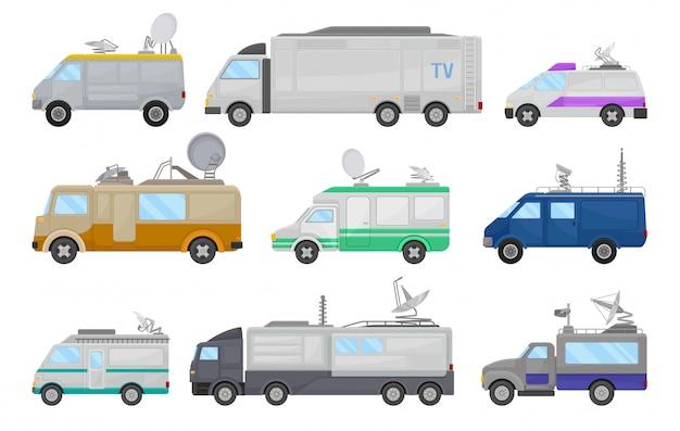 Conjunto plano de carros de mídia. carrinhas de transmissão de televisão, caminhões de notícias na tv. estúdio de tv móvel