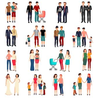 Conjunto plano de casais homossexuais masculinos e femininos e famílias com crianças isoladas em branco backgrou