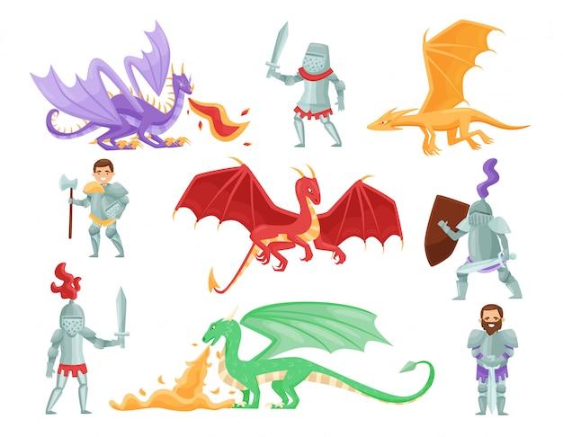 Conjunto plano de cavaleiros blindados e grandes dragões. monstros míticos. bravos guerreiros. personagens de desenhos animados