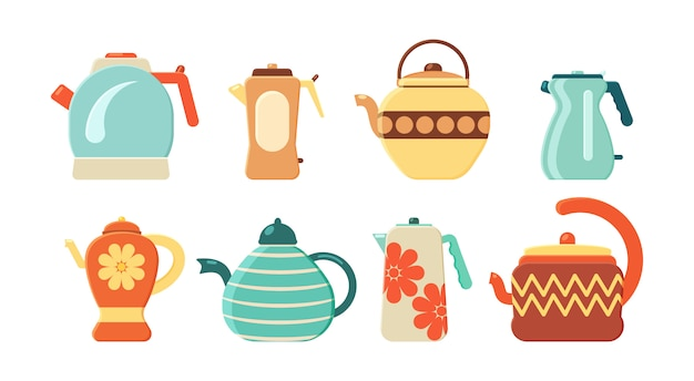 Conjunto plano de chaleiras. utensílios de cozinha. coleção de bules e chaleiras isoladas no fundo branco. eletrodoméstico para ferver água. bebida quente.