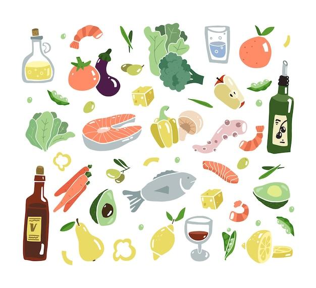 Conjunto plano de comida mediterrânica dieta do sul da europa estilo de vida saudável mediterranen frutos do mar e vegetais