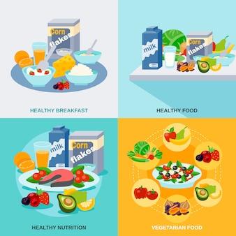 Conjunto plano de comida saudável