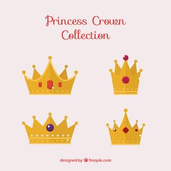 Conjunto plano de coroas de princesa preciosas