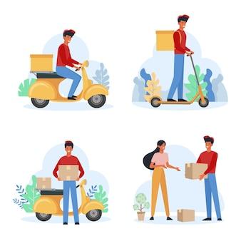 Conjunto plano de correio masculino do serviço de entrega. entregador carregando encomendas. mulher alegre, recebendo o pacote. homem transportando caixas na scooter.