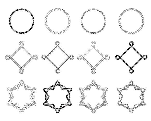 Conjunto plano de diferentes armações de corda