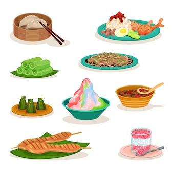Conjunto plano de diferentes pratos da malásia. comida deliciosa. cozinha asiática. tema culinário