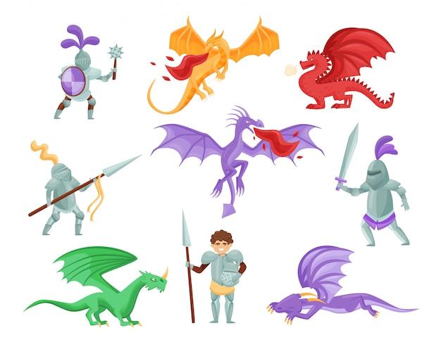 Conjunto plano de dragões e cavaleiros medievais. guerreiros em armadura de ferro. monstros míticos com asas grandes