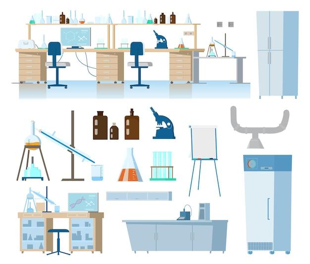 Conjunto plano de equipamento de laboratório médico ou químico