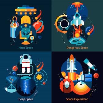 Conjunto plano de espaço