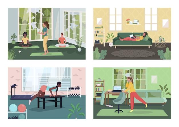 Conjunto plano de estilo de vida saudável do empregado. freelancer feminino no sofá com o laptop. aula de meditação. ginásio de escritório. personagens femininos de desenhos animados 2d com coleção de interiores