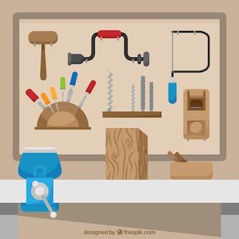 Conjunto plano de ferramentas de carpinteiro