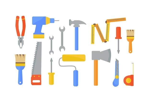 Conjunto plano de ferramentas de trabalho para construir e renovar uma casa. ilustração vetorial