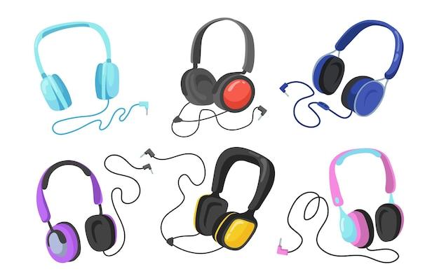 Conjunto plano de fones de ouvido modernos