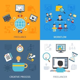 Conjunto plano de freelancer