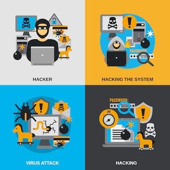 Conjunto plano de hackers