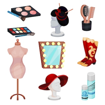 Conjunto plano de ícones de camarim. produtos cosméticos para maquiagem, acessórios e manequins com peruca e chapéu
