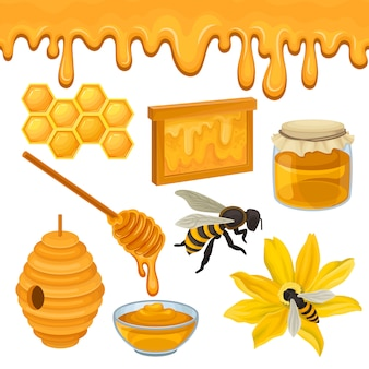 Conjunto plano de ícones relacionados ao tema de produção de mel. abelha na flor, favo de mel, colméia, tigela de vidro e jarra, concha de madeira. produto natural