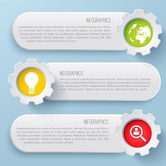 Conjunto plano de infográfico de negócios horizontal com ícones coloridos isolados
